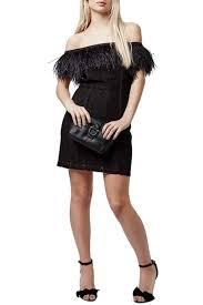 TOPSHOP Feather Trim Lace f the Shoulder Dress