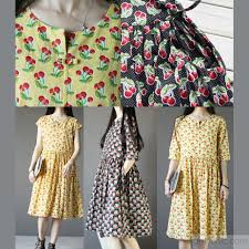 yellow cherry print cotton sundress plus size summer dresses short