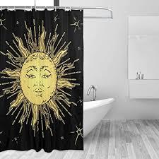 ouija duschvorhang sonnen und mond motiv für badezimmer
