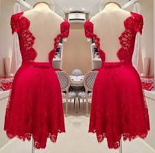 In Stock Luxury Short Red Prom Party Dress High Quality Knee Length Backless Custom Parti Events