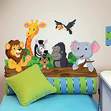 r00145 wandaufkleber tiere dschungel wanddekoration kinderzimmer kindergarten nest schlafzimmer klebepapier stoffeffekt