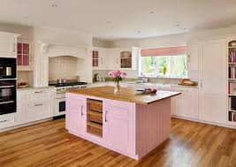 Cream Pink Kitchen Farmhouse With Island Traditional Wall And Floor Tiles