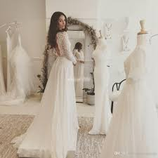 Discount Cheap Lace And Chiffon Beach Wedding Dresses With Long Sleeve Boho Country Rustic Bridal Gowns Vestidos De Noivas Backless A Line 2017