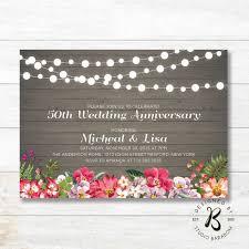 Wedding Anniversary Invitations Rustic 50th Invitation