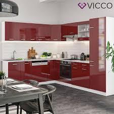 vicco küchenzeile r line eckküche winkel küche einbau rot bordeaux hochglanz