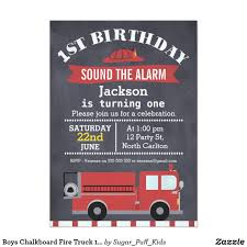 Boys Chalkboard Fire Truck 1st Birthday Invitation | Chalkboard ...
