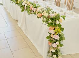 Flower Garland Wedding Beautiful Rustic Orange And Peach Headtable Flowers