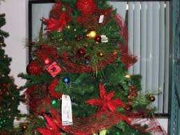 Christmas Tree Decorated With Glittered Netting