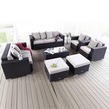 canapé avec repose pied 7 pièce salon de jardin en rotin avec coussin 2 fauteuils causeuse