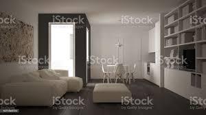 minimalistischen wohnzimmer mit sofa küche esstisch und stühle große fenster weißen und grauen moderner architektur innenarchitektur stockfoto und