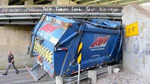 100 Garbage Truck Accident Truck Gets Stuck In Underpass