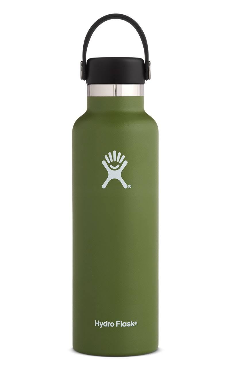 Hydro Flask Standard Mouth Water Bottle, Olive, 21 Oz Capacity