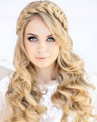 Loose Waves With Crown Braid Wedding Hairstyle