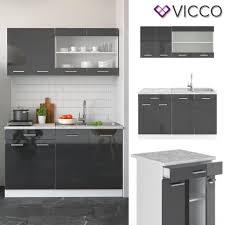 vicco küchenzeile single einbauküche 140 cm küche anthrazit hochglanz r line