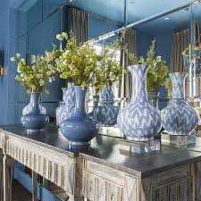 Mirror Tiled Wall With Gray Console Table View Full Size Blue Dining