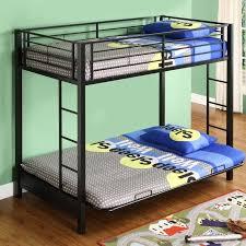 walker edison sunset metal twin over futon bunk bed frame in black