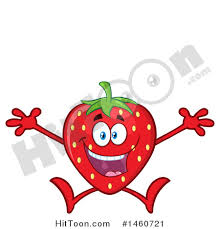 Clipart of a Strawberry Mascot Character Jumping Royalty Free Vector Illustration