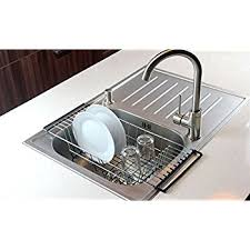 Stainless Steel Sink Grid Amazon by Amazon Com Over The Sink Kitchen Dish Drainer Rack Durable