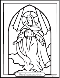 Catholic Saints Coloring Page Stained Glass Assumption Of Mary