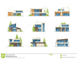 100 Contemporary Architecture Homes Modern Houses Collection Stock Vector Illustration Of