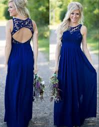 2017 midnight blue bridesmaid dresses lace top chiffon open back a