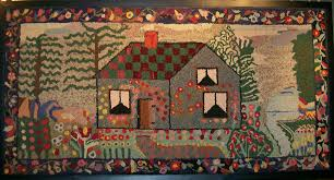 Arts And Crafts Rugs With Unique House And Backyard Landscape