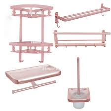 pink bathroom accessories sets aluminum wall mount