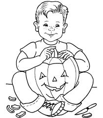 Kid Carving Halloween Pumpkin Coloring Sheets Printable
