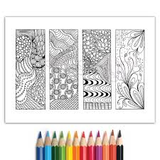 Bookmarks Zentangle Inspired Zendoodle Coloring Pageinstant Download PDF 1