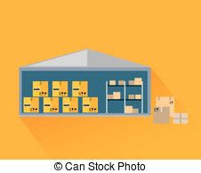 Storage Warehouse With Boxes In Cut