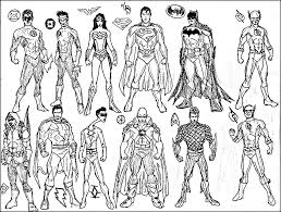 Many Superheroes Free Coloring Page O Adults Superheros