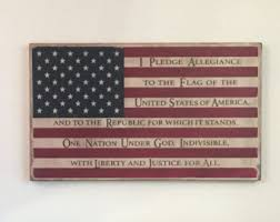 Pledge Of Allegiance Flag Wood Sign Rustic United States Fourth July