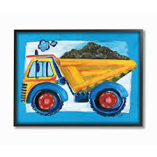 100 Kids Dump Truck 16 In X 20 In Yellow With Blue Border By Bealook Wood Framed Wall Art