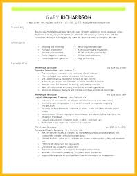 Resume Summary Examples For Warehouse Worker Feat Make Stunning 622