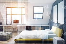 backstein schlafzimmer und im home office gelb seite getönt stockfoto und mehr bilder bett