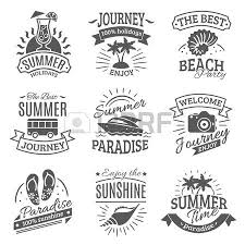 Summer Holiday Travel Agencies Labels Set With Best Journeys To Tropical Beach Black Abstract Isolated Vector