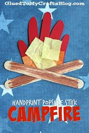 Preschool Summer Crafts Pinterest Handprint Popsicle Stick Campfire Kid Craft On Nature Ideas Natural