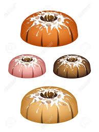 illustration set napfkuchen oder traditionelle große runde kuchen mit loch innen spiegel glasurschicht und walnüsse für urlaub dessert einzeln