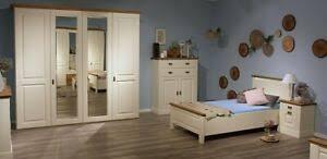 details zu massivholz schlafzimmer komplett 4teilig bett 100x200 kiefer massiv creme eiche
