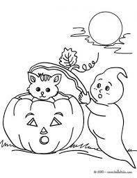 Ghost And Kitten In Halloween Night Coloring Pages
