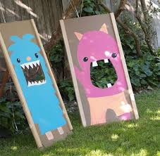 Diy Bean Bag Toss Game Made To Look Like Little Monsters