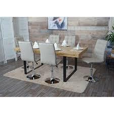 6x esszimmerstuhl hhg 105 stuhl küchenstuhl höhenverstellbar drehbar stoff textil creme grau