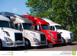100 Different Trucks Stock Photo Semi Models Row Truck Stop Parking Lot