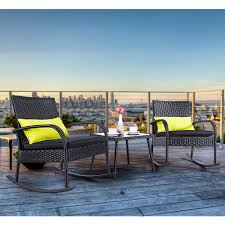 Cloud Mountain Outdoor 3 Piece Rocking Chair Set Wicker Rattan Bistro Set  Wicker Furniture - Two Chairs With Glass Coffee Table - Walmart.com