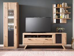 details zu wohnwand carvin 40 balkeneiche cosmos grey 3 teilig wohnzimmer tv wand led