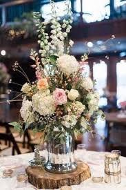 Wood Slab Centrepiece Inspiration Where To Buy Gallery Rustic Wildflowers In Mason Jar Wedding Centerpiece