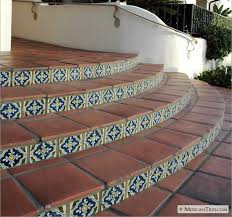mexicantiles stairs with mexican terracotta floor tile
