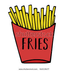 Golden french fries in red paper box Fries vector illustration cartoon drawing With writing