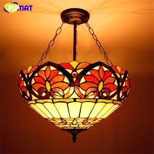 Tiffany Light Fixture Stained Glass Style Art Pendant Living Room Dining Classic Flush Mount Fixtures