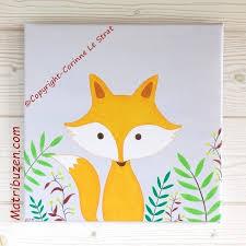 cadre chambre bébé tableau déco chambre enfant bébé thème forêt renard